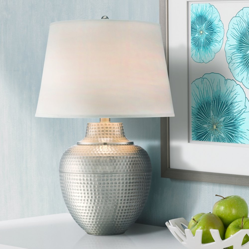 Brighton hammered pot brushed nickel table lamp amazon aloadofball Image collections