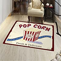 Movie Theater Floor Mat Pattern Fresh Delicious Pop Corn Film Tickets Strip Advertising in s Theme Living Dinning Room & Bedroom Rugs 5x6 Multicolor