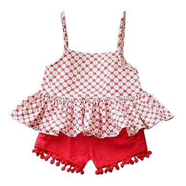 a00ceb3532f6 Amazon.com  Riverdalin Baby Girls Outfits Sets 2PCS Floral Print ...