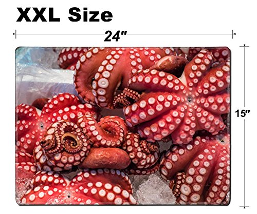Luxlady Extra Large Mouse Pad XXL Extended Non-Slip Rubber Gaming Mousepad 24x15 Inch, 3mm thick Stitched Edge Desk Mat IMAGE ID: 35592186 Red live octopus at Tsukiji fish market Tokyo Japan ()