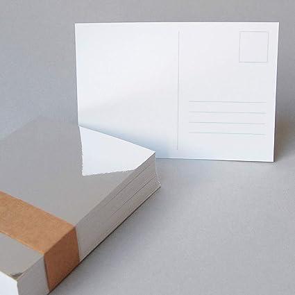 100 tarjetas postales Din A6 de espejo de cartón (270 g/m2 Blanco ...