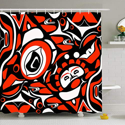 (Ahawoso Shower Curtain 60x72 Inches Canadian Abstract Red Native North American Mask Pattern Indigenous Tribal Haida Northwest Design Waterproof Polyester Fabric Set with Hooks)
