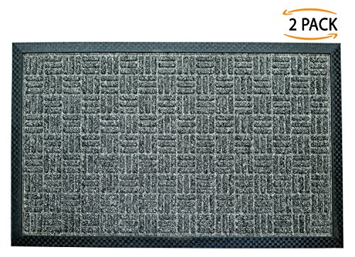 Iron Gate - 2 Pack Gatekeeper Doormat 18x30 Dark Grey - Extremely sturdy and rugged construction 69 Ounces / 6000 GSM - Polypropylene surface & Rubber back for better floor - Front Mall Water