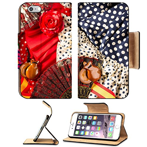 MSD Premium Apple iPhone 6 Plus iPhone 6S Plus Flip Pu Leather Wallet Case iPhone6 Plus IMAGE ID 19616766 Espana typical from Spain with castanets rose fan comb bullfighter and flamenco dress