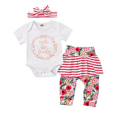 5411885b35e Big Promotion!PLOT Clearance Baby Girls Floral Striped Romper Jumpsuit  Clothes Bodysuit Pajamas Outfit On Sale 0-2T  Amazon.co.uk  Clothing