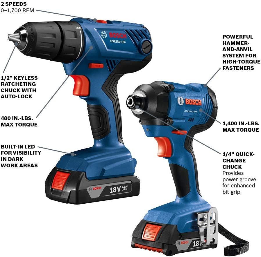 Bosch 18V 2-Tool Combo Kit with 1/2 In. Compact Drill/Driver and 1/4 In. Hex Impact Driver GXL18V-26B22: Amazon.es: Bricolaje y herramientas