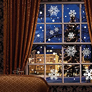Amazoncom Pcs Window Clings Wall Stickers Decal White - Snowflake window stickers amazon