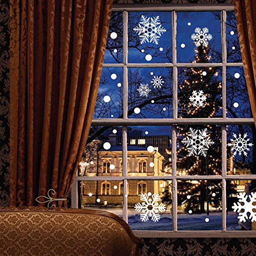 121 pcs Window Clings Wall Stickers Decal - White Snowflakes / Baubles / Bells - Christmas New Year Decorations Xmas Ornaments (Christmas Decorations Store)