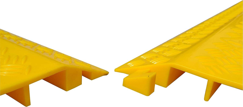 Kanalma/ße B x H: 50 x 30 mm Inneneinsatz Kunststoffkabelabdeckung Bodenanwendung Signalgelb Betriebsausstattung24/® Kabelbr/ücke mit zwei Kabelkan/älen