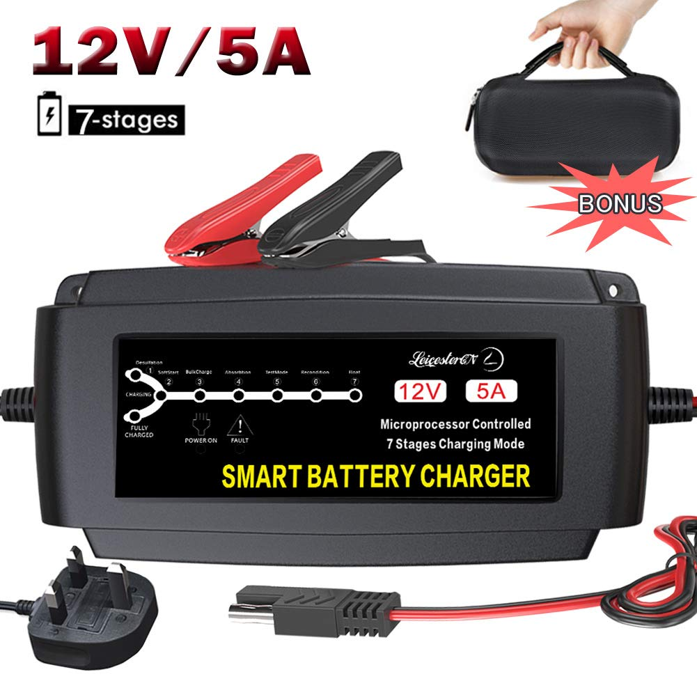 LEICESTERCN Car Battery Trickle Charger 12V Maintainer Automatic Smart Portable Deep Cycle Charger for Automotive Motorcycle Mower RV SLA ATV AGM GEL CELL WET& FLOODED Lead Acid Batteries-Upgraded