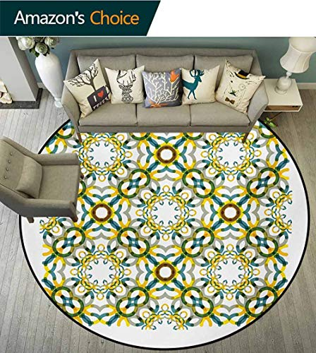 Floral Round Area Rug Reversible Floor Carpet,Vintage Geometric Stylized Lace Flower Circles Groovy Diagonal Stripes Grunge Design Super Soft Living Room Bedroom Home Shaggy Carpet,Round-71 Inch