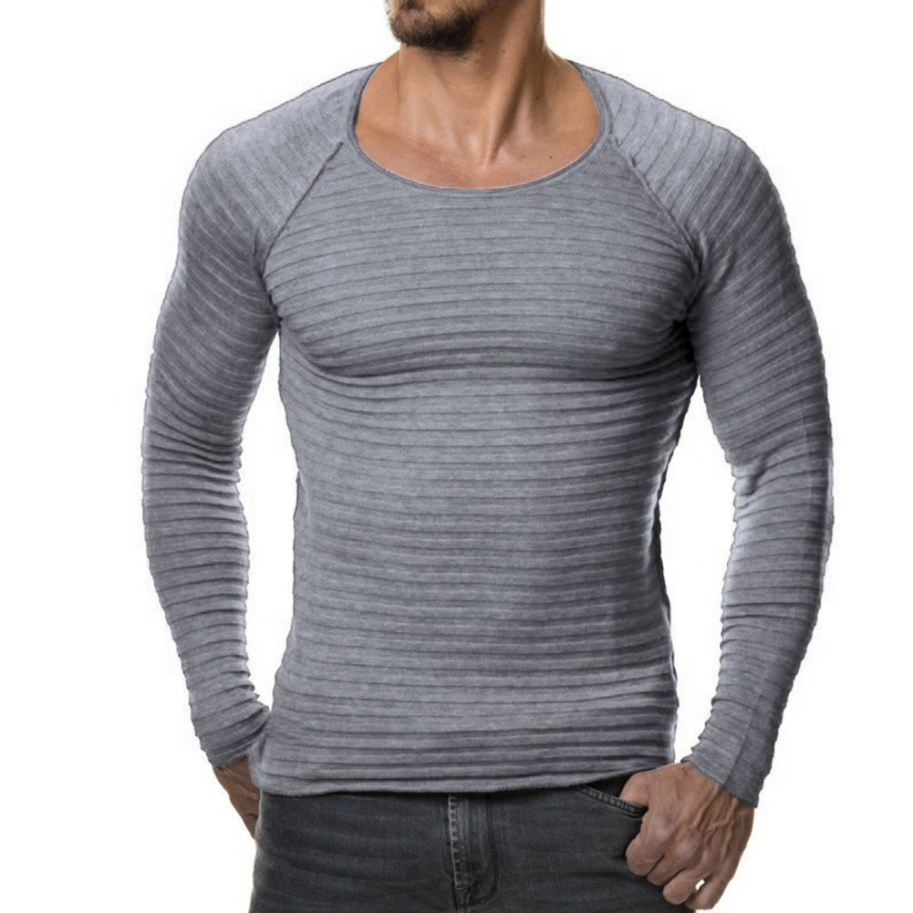 Helisopus Men's Stretch Solid Pullover Knitted Sweaters Slim Fit O-Neck Long Sleeve Casual Crewneck Sweater Light Gray US S (Tag L)