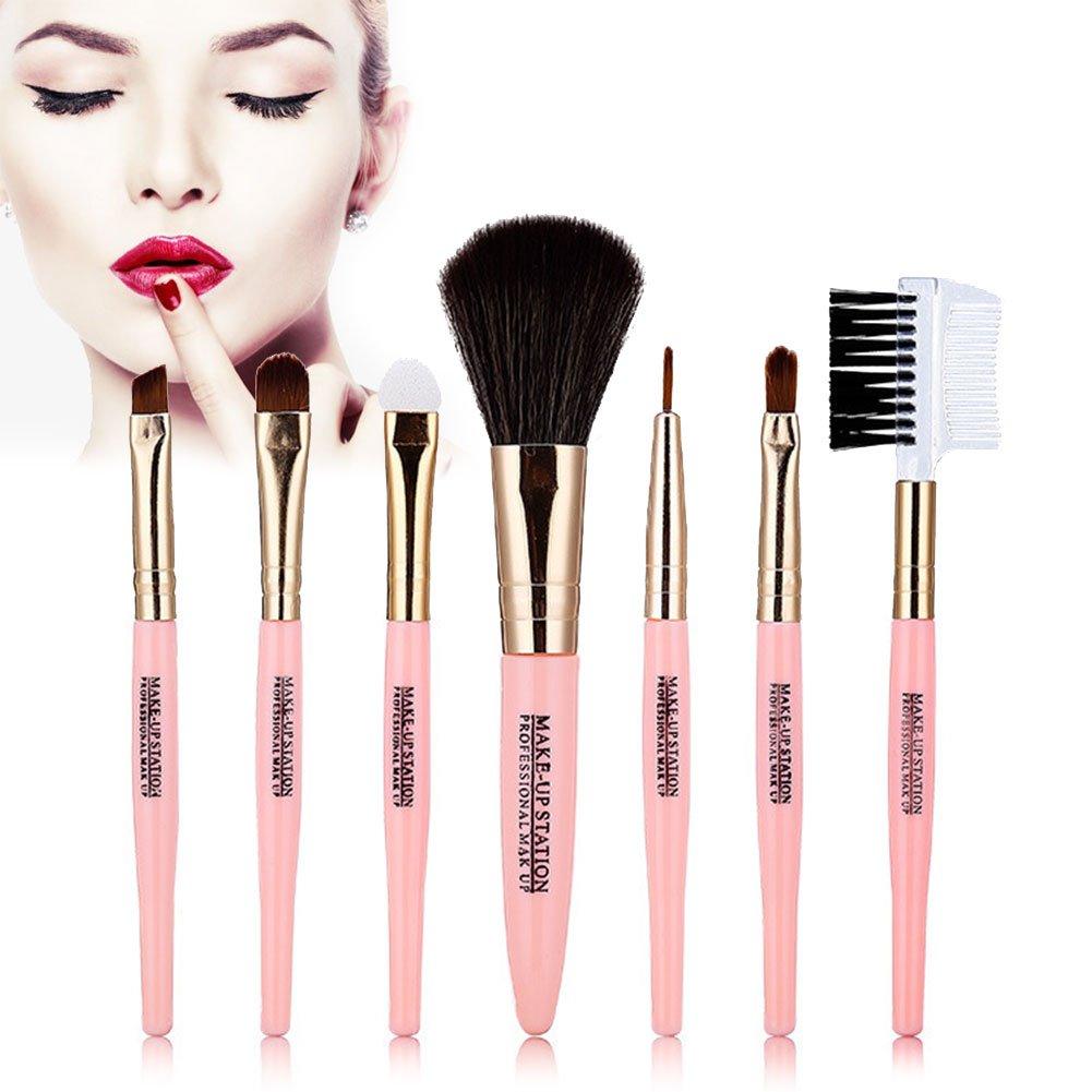 Makeup Brush Set Premium Cosmetic Brushes Makeup Brushes 7pieces Makeup Brush Kit Professional Cream Contour Powder Concealer Foundation Eyeliner Cosmetics Tool ( pink ) MOCHAShop