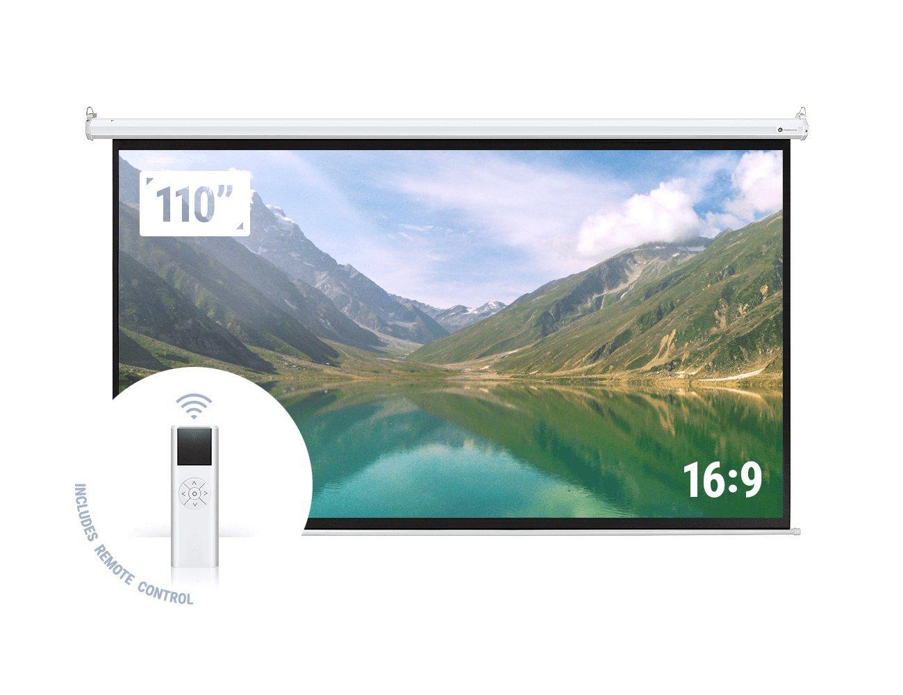 16:9 motorized projector screen 110