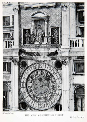 1907 Print Clock Tower Piazza San Marco Saint Mark Venice Italy Mary Jesus Art - Original Halftone - Marcos Marc San