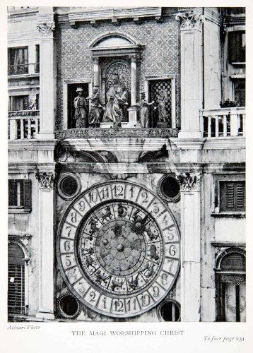 1907 Print Clock Tower Piazza San Marco Saint Mark Venice Italy Mary Jesus Art - Original Halftone - Marc Marcos San