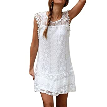 Domingo mujeres vestido Casual vestido encaje sin mangas o cuello borla de playa corto vestido Mini