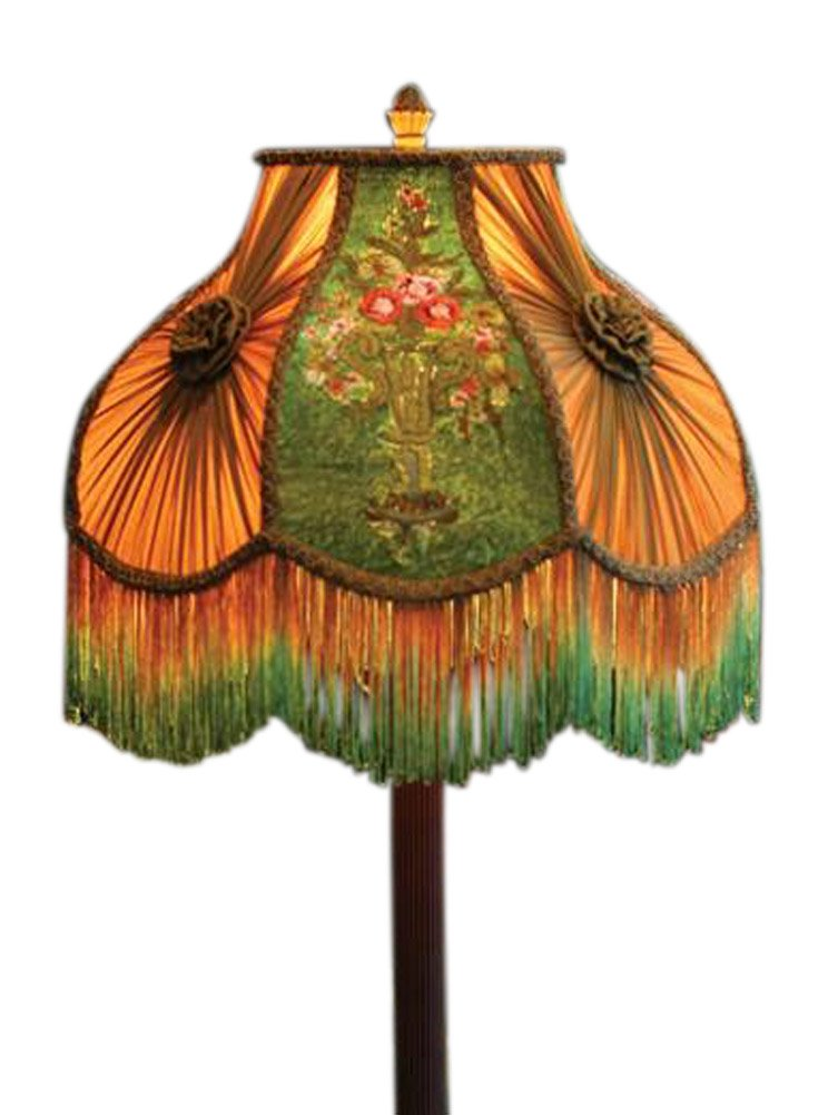 Victorian Gone With The Wind Bed And Breakfast Velvet Embroidered Lamp Shade Flower Urn 16'' x 14'' Standard Lamp Harp. by VTC