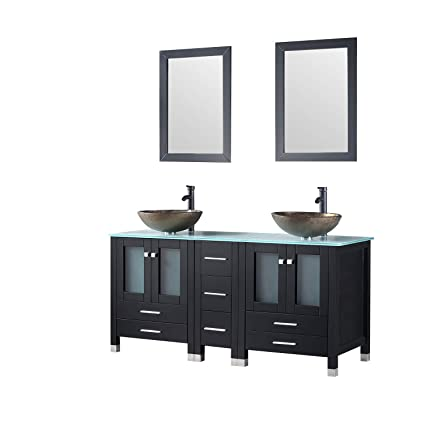 newest collection dd98e 7edbc Walcut 60 Inch Black Bathroom Vanity and Sink Combo Double Cabinet with  Double Glass Vessel Sink and Faucet Combo (Brown 1), 60