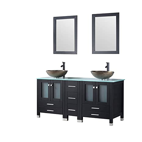 Walcut 60 Inch Black Bathroom Vanity And Sink Combo Double Cabinet