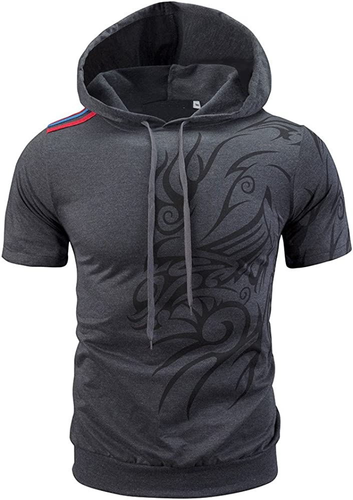 WYTong Mens Hipster Hip Hop Short Sleeve Hoodies Printed Workout Pullover Hooded Summer Top