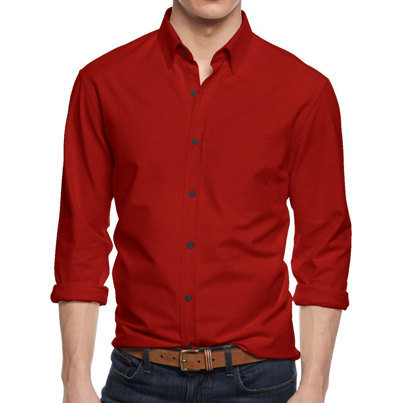 HB Mens Button Down Dress Shirt Casual Long Sleeve Slim Fit (Large / 16-16.5, Red)