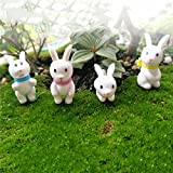 4pcs/set Mini Rabbit Ornament Miniature Figurine Fairy Garden Decor Home Decoration Christmas Gift