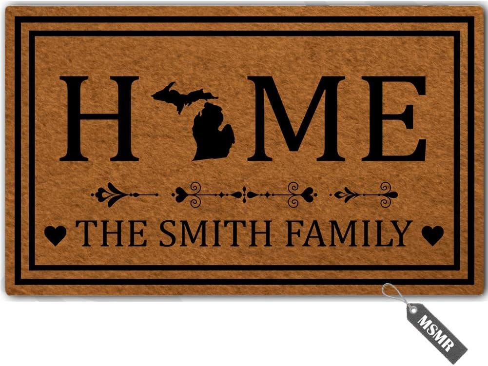 """MsMr Personalized [Your Name] Door Mat Indoor Outdoor Custom Doormat Decorative Home Office Welcome Mat Michigan Door Mat 23.6"""" x 15.7"""""""
