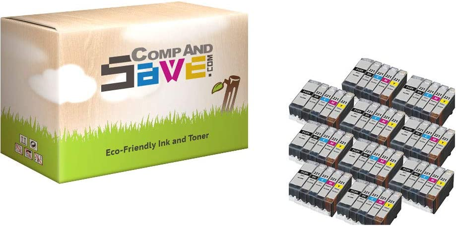 CompAndSave Replacement for Canon PGI-220 /& CLI-221 Black /& Color 5-Pack Ink Cartridges