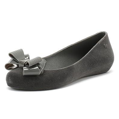 7ff054a735e Zaxy Womens Grey Pop Flock Bow Luxe Ballerina Flats: Amazon.co.uk ...