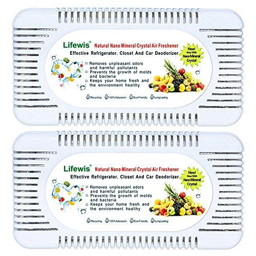 Refrigerator Deodorant- 2 Pcs Natural Nano Mineral Fridge Closet Air Smell Deodorizer and Odor Eliminator Box Air Purification Remove Room Refresher for Home Car Carpet