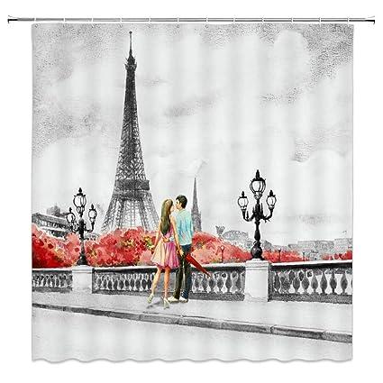 Eiffel Tower Shower Curtain Decor Paris Bridge Lamp Man Lady Lovers Red Tree