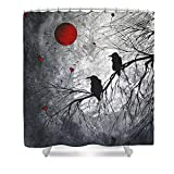 Original Abstract Surreal Raven Red Blood Moon Painting Waterproof Polyester Fabric Shower Curtain 66(W) by 72(H)