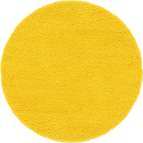 A2Z Rug Cozy Shaggy Collection 6-Feet Round Solid Area Rug - Tuscan Sun Yellow