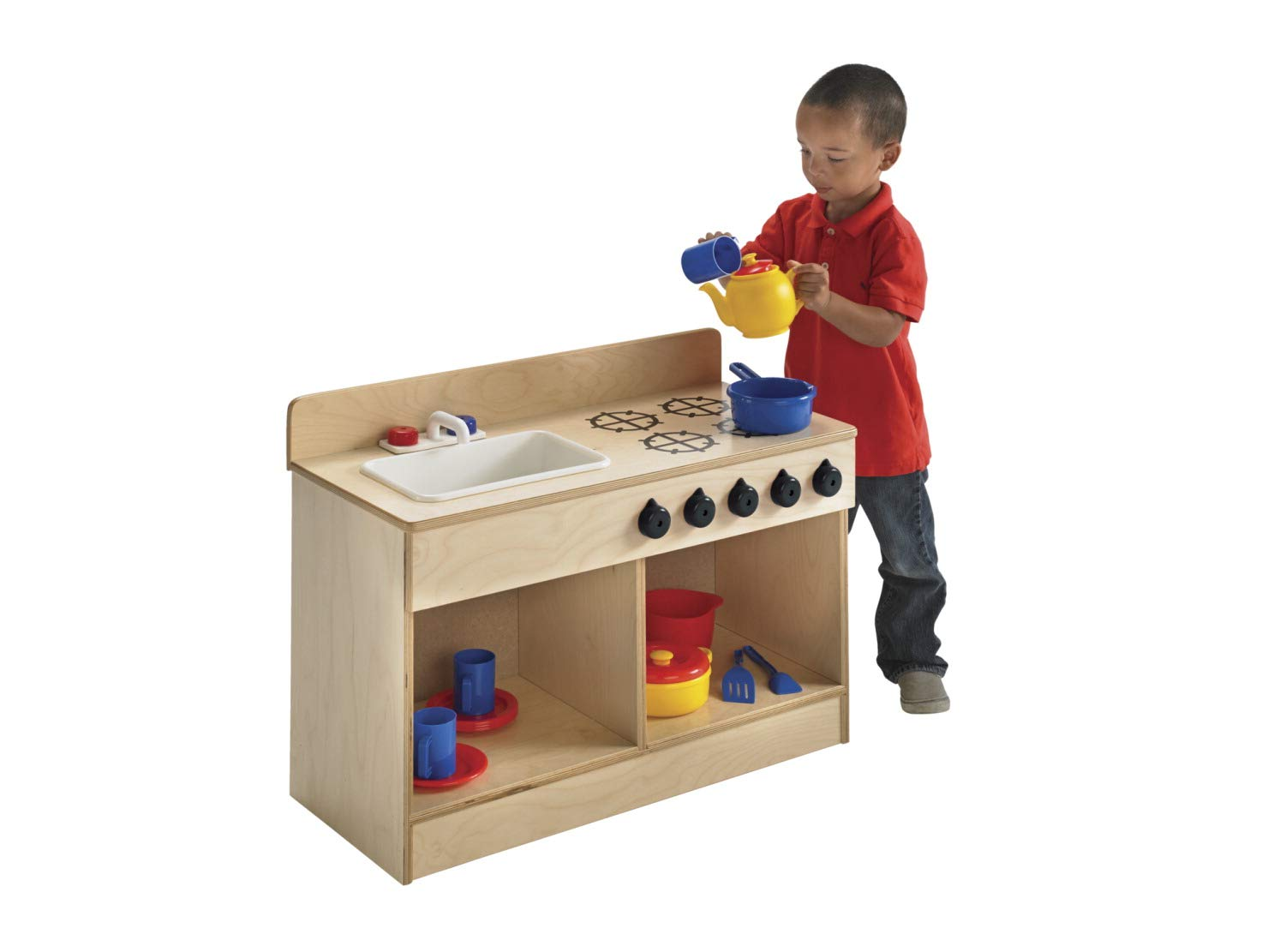 Childcraft 1491196 Toddler Sink and Stove Combo, 21.5'' Height, 13.38'' Width, 29.5'' Length, Natural Wood by Childcraft (Image #7)