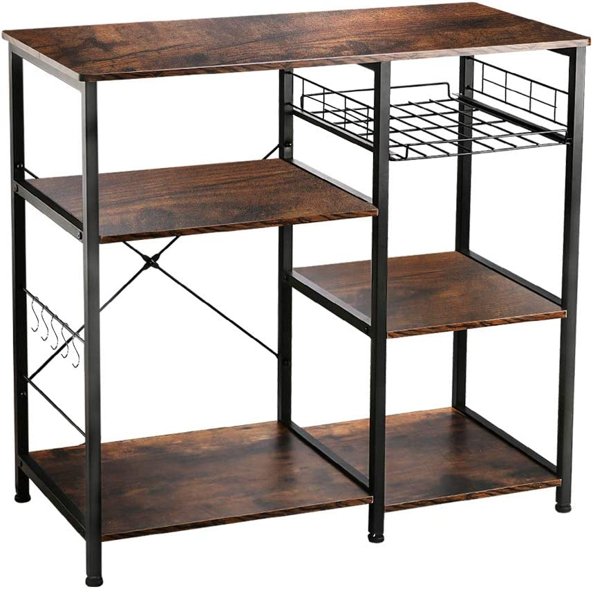 "VANSPACE Industrial Kitchen Baker's Rack Utility Storage Shelf Microwave Stand 3-Tier + 3-Tier Kitchen Storage Cart Table for Spice Rack Organizer Workstation with 5 Hooks - 35.5"" Retro Brown"