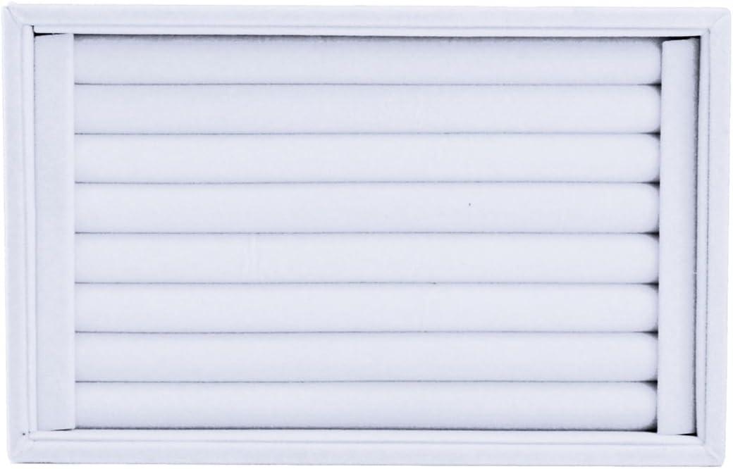 SODIAL plateau de flanelle Anneau R flannel Multi-row Ring tray white