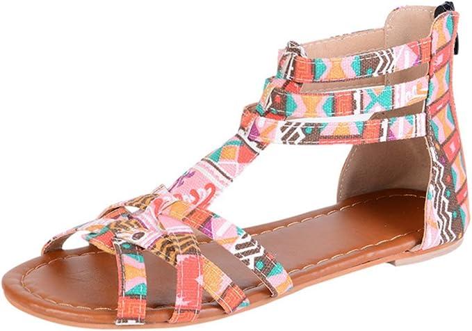Dihopee Womens Bohemian Flat Sandals Trendy Print Ankle Strap Summer Open Toe Sandals Beach Shoes Summer