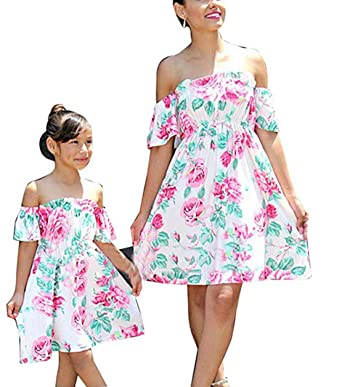 228638df83b7 Mother Daughter Family Matching Outfit Boho Off Shoulder Sleeve ...