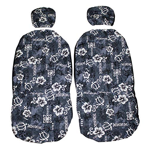 Hawaiian car seat cover with Separated Headrest, Gray Blue Tapa, Set of 2 Front Bucket Seat Covers, Made in Hawaii