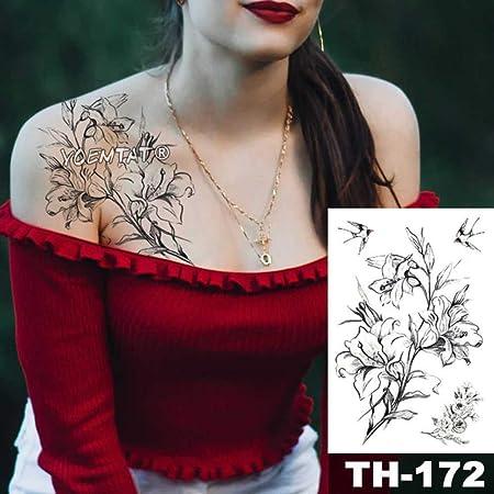 Modeganqing Tatuaje de 5 Piezas Flor Negra Manga del Tatuaje ...