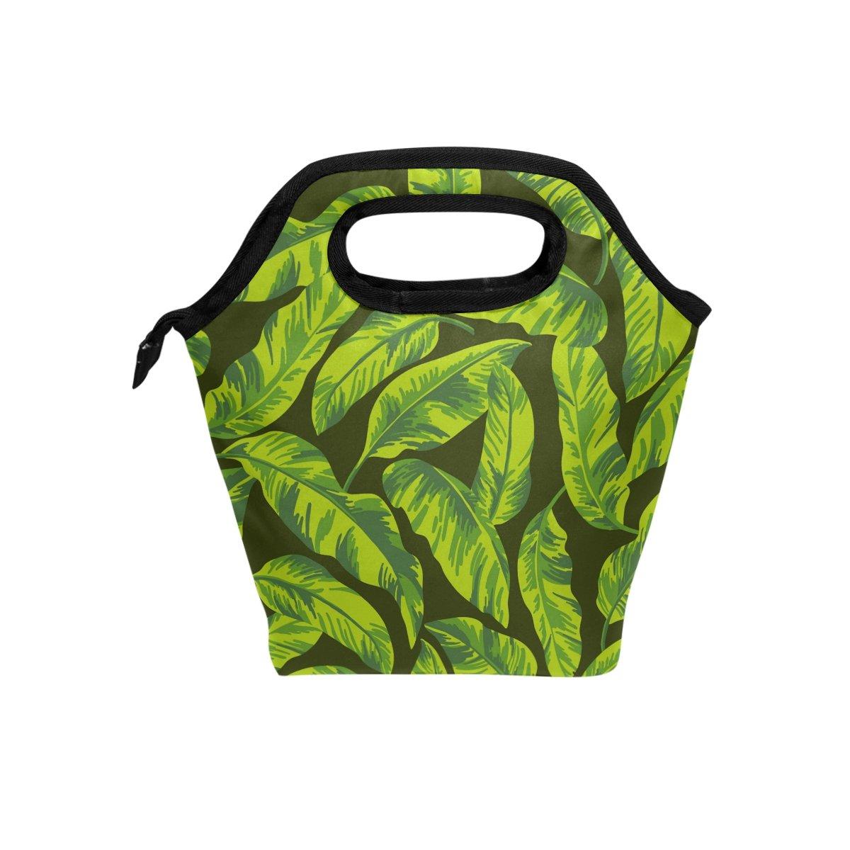 JSTEL - Bolsa de almuerzo con diseño de hojas tropicales, bolsa para el almuerzo, contenedor de alimentos, para viajes, picnic, escuela, oficina