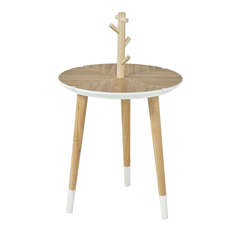 FBT38-WN SoBuy/® Table caf/é Design avec Support /à Tasses Table d/'appoint Ronde 3 Pieds