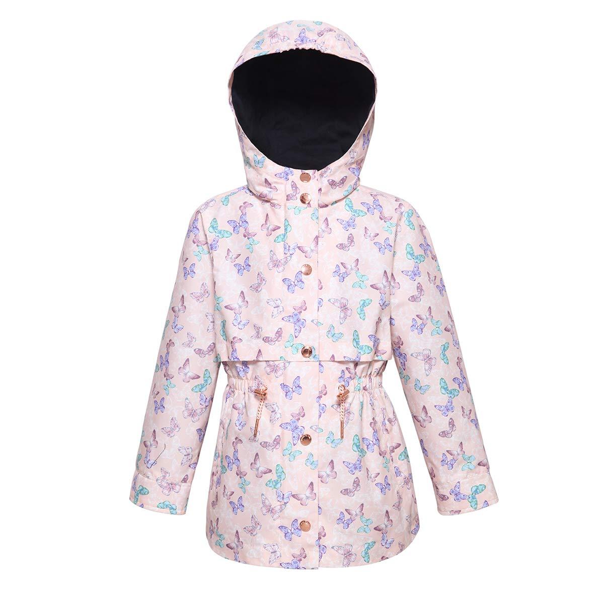 Rokka&Rolla Girls' Lightweight Water Resistant Hooded Rain Jacket Trench Coat Windbreaker by Rokka&Rolla