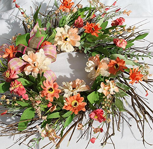 20 Inch Summer Silk Floral Wreath For Front Door Centre For