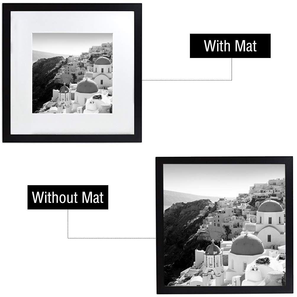 Black 12x12 Square Picture Frame Golden State Art Matted to Fit Pictures 8x8
