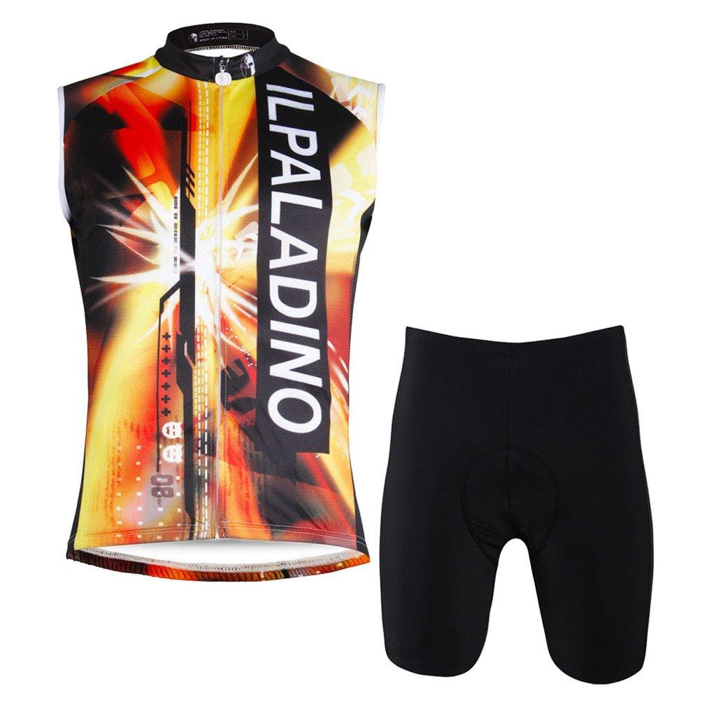QinYingメンズ夏ノースリーブCycling Jersey新しいデザイン通気性アウトドア自転車シャツ 4L Short Set B06XKFJKBJ