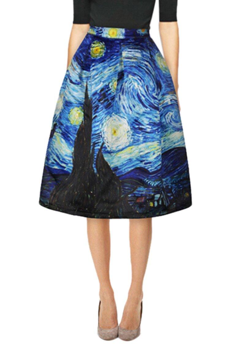 VOGRACE Women's Starry Night Printed High Waist Knee Length Pleated Midi Princess Skirt
