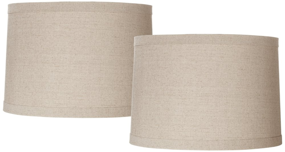 Natural Linen Set of 2 Drum Shades 15x16x11 (Spider) by Brentwood