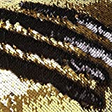 TRLYC Gold and Black Two-Toned Mermaid Fish Scale Design 8ftx8ft Mermaid Wedding Sequin Backdrop Reversible Sparkly Curtain